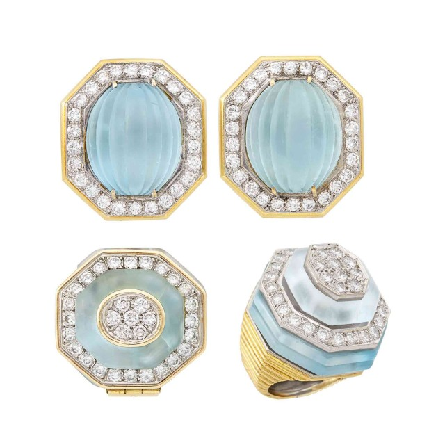 Gold, Platinum, Frosted Carved Aquamarine and Diamond Earclips, Wander, France, Ring and Enhancer