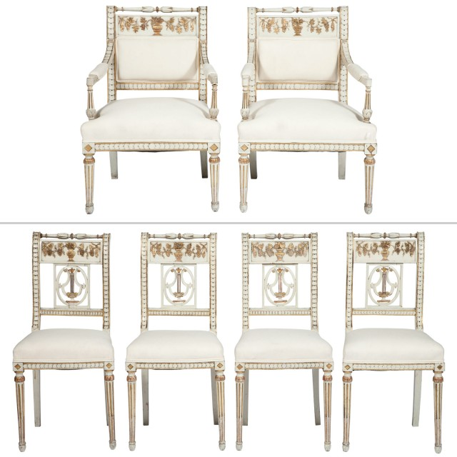 Louis XVI Style Gilt, White Painted and Upholstered Salon Suite