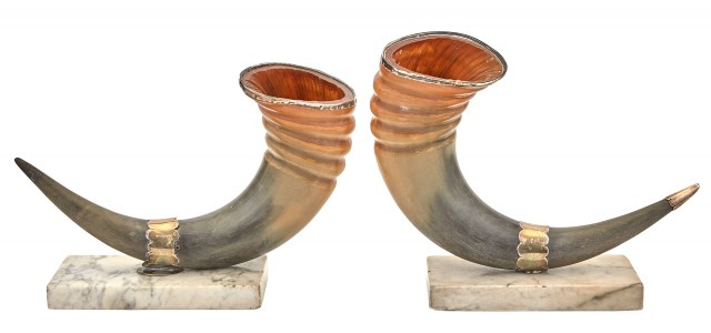 Pair of Victorian Silver-Mounted Horns on Marble Bases