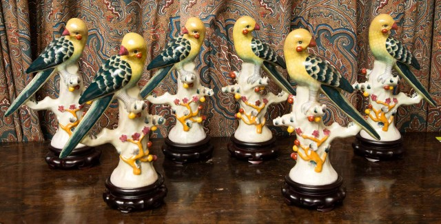 Set of Six Chinese Porcelain Figures of Parrots
