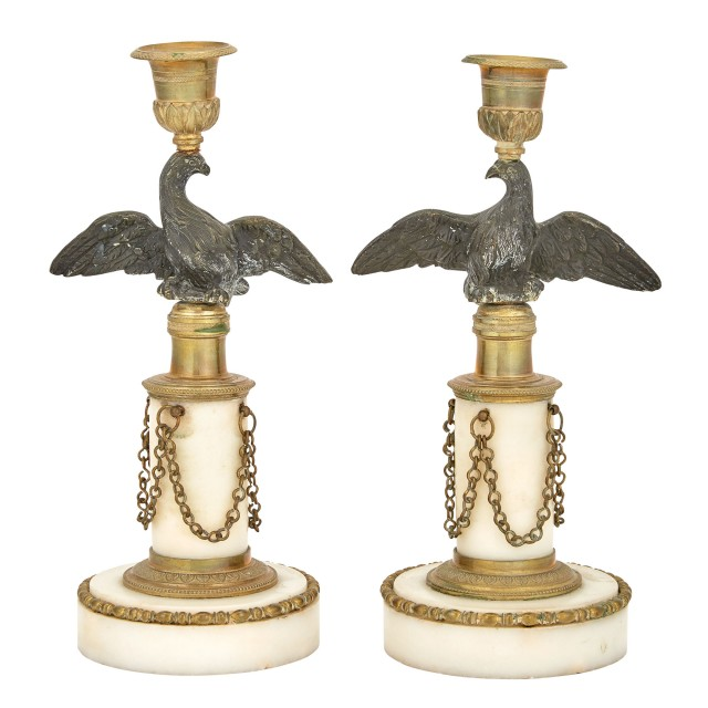 Pair of Empire Style Marble and Gilt- and Patinated-Bronze Candlesticks