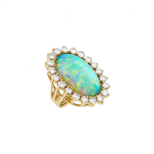 Gold, Opal and Diamond Ring