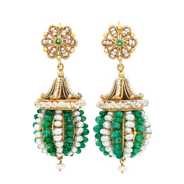 Pair of Gold, Freshwater and Seed Pearl, Emerald Bead and Enamel Pendant-Earrings