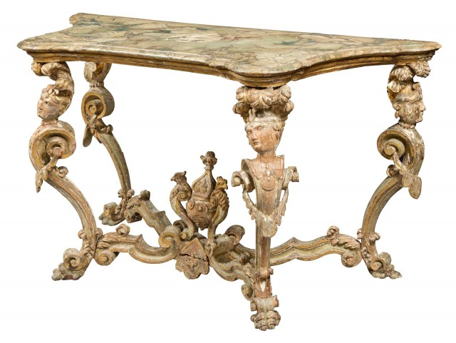 Italian Baroque Painted and Parcel-Gilt Console Table