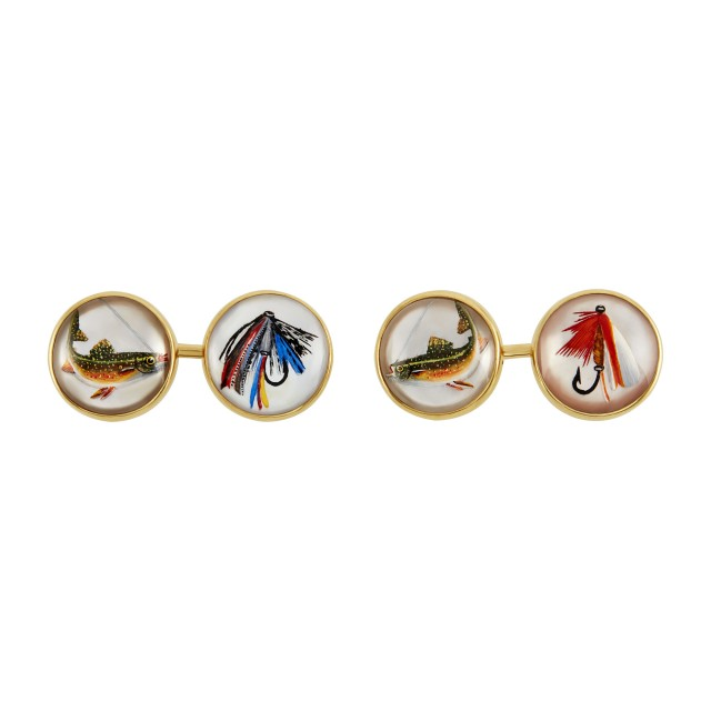 Pair of Gold and Essex Crystal Fly Fishing Cufflinks, Cartier