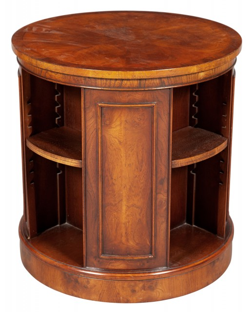 Georgian Style Revolving Walnut Drum-Form Book Table