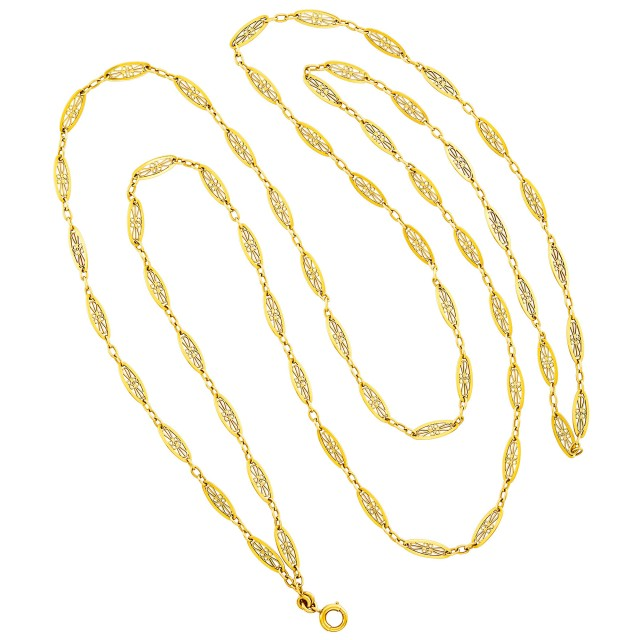 Long Antique Gold Chain Necklace, France