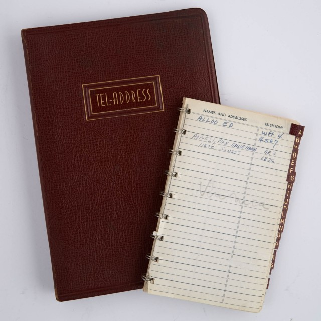 [CASSINI - ADDRESS BOOKS]  Two circa 1960s address books used by Oleg Cassini.