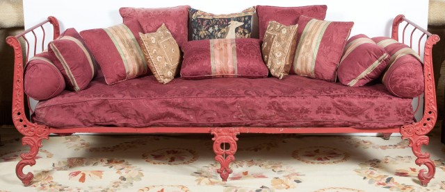 French Red-Painted Cast-Iron Bed
