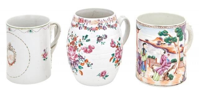 Group of Three Chinese Export Porcelain Mugs