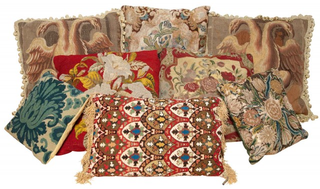 Group of Eight Needlepoint Pillows