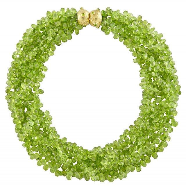 Seven Strand Peridot Briolette Bead Torsade Necklace with Hammered Gold and Cabochon Peridot Clasp