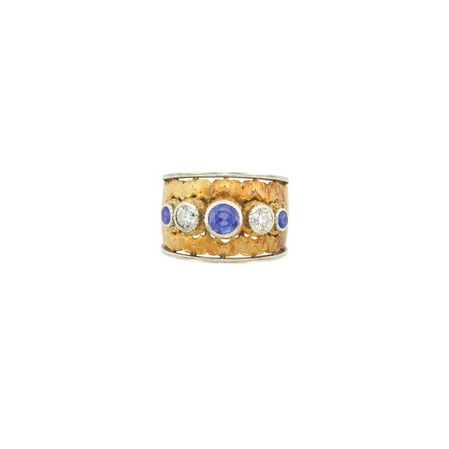 Federico Buccellati Two-Color Gold, Sapphire and Diamond Band Ring