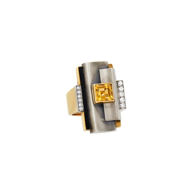 Raymond Templier Art Moderne Gold, Silver, Citrine, Diamond and Black Onyx Ring, France