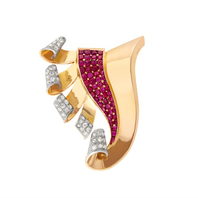 Retro Gold, Ruby and Diamond Clip-Brooch, France