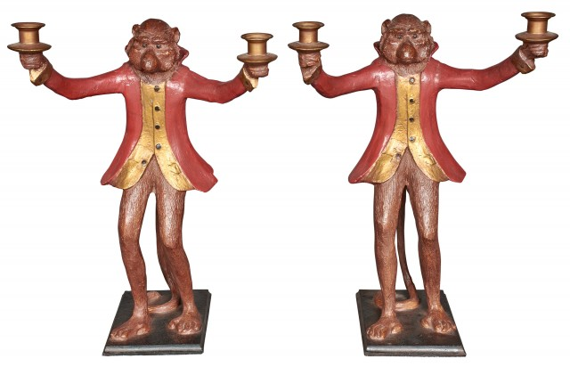 Pair of Painted Composition Monkey Butler Two-Light Candelabra