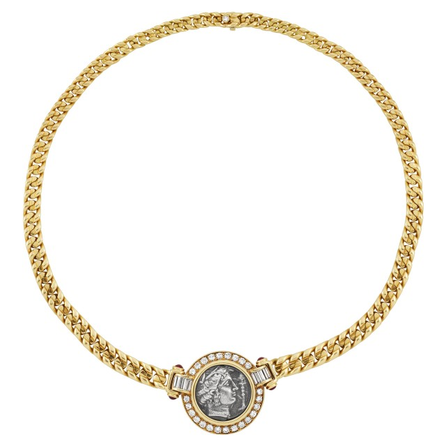 Gold, Diamond, Ruby and Silver Coin Necklace, Bulgari