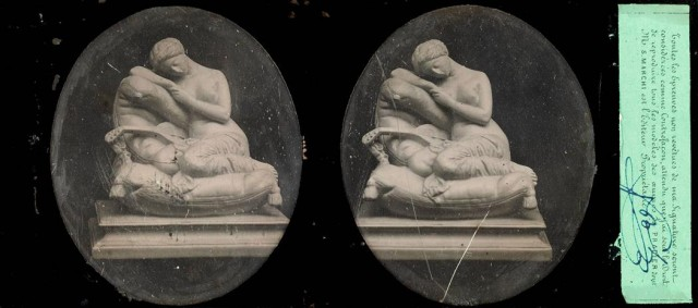 "[DAGUERREOTYPE-STEROSCOPIC]  [LEMAIRE, L., ""Opticien Fabricant""]. Two French stereo-daguerreotypes of statues by Pradier."