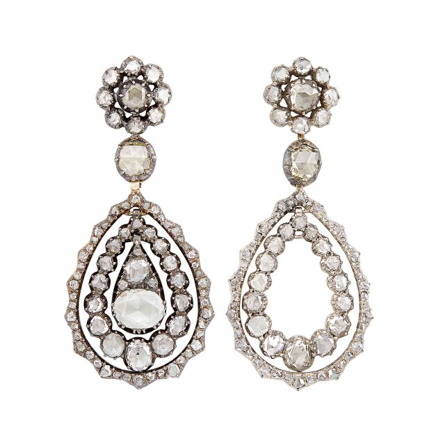 Pair of Antique Silver, Gold and Diamond Pendant-Earrings