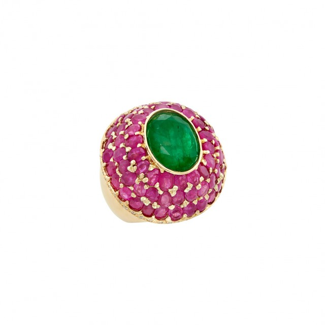 Gold, Emerald, Ruby and Diamond Dome Ring