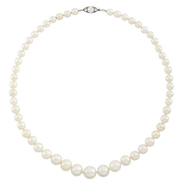 Natural Oriental Pearl Necklace with Platinum and Diamond Clasp, Cartier