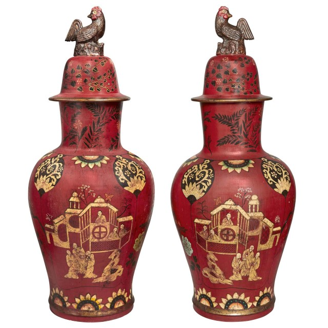 Pair of Berlin Style Faïence Covered Vases