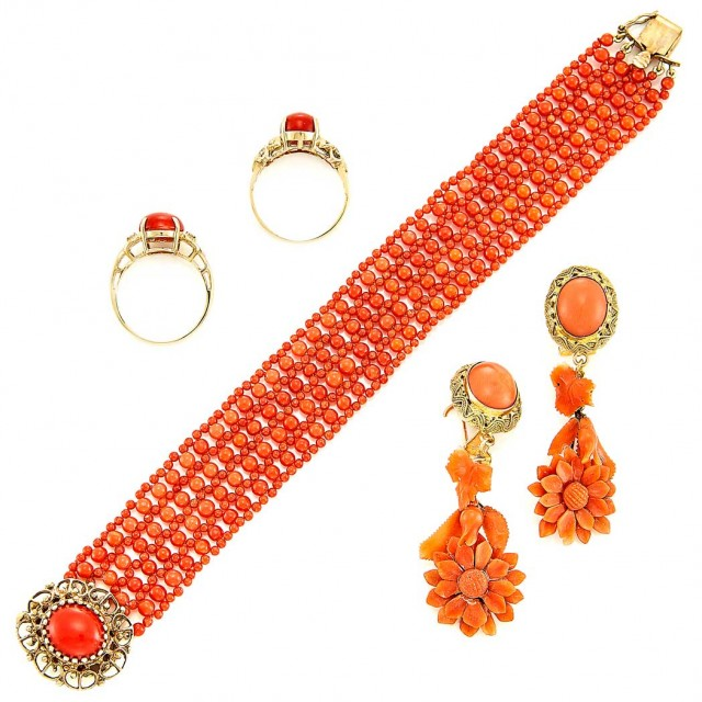 6ea7e8ac4d15f Coral Bead Mesh Bracelet and Two Gold, Coral and Diamond Rings and ...