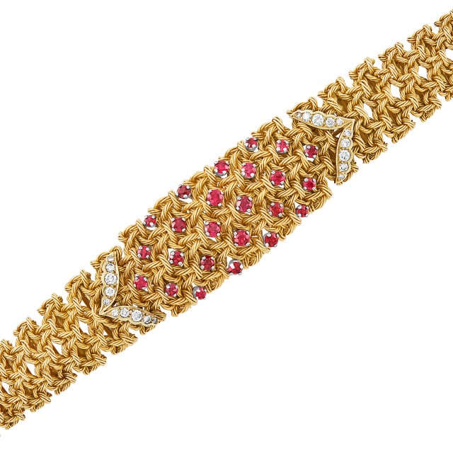 Gold, Platinum, Ruby and Diamond Bracelet, Georges L'Enfant, France