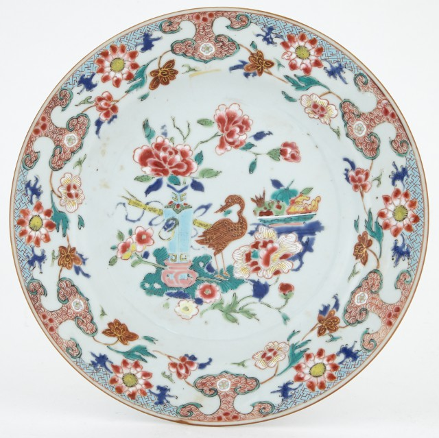 Three Chinese Export Enameled Porcelain Plates