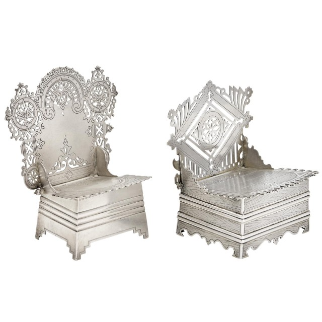 Two Russian Silver Salt Thrones