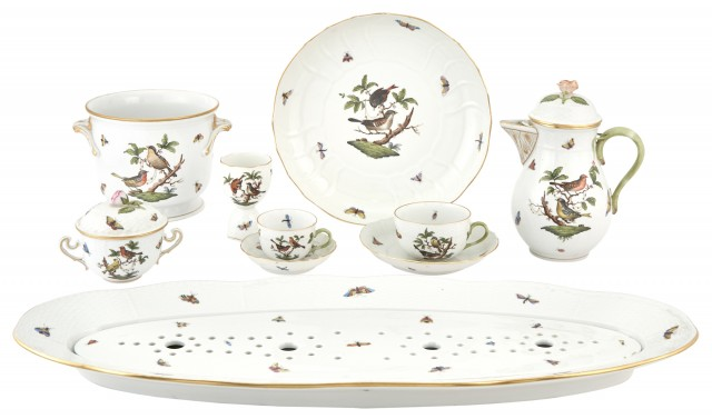 Group of Herend Porcelain Rothschild Bird Pattern Tableware