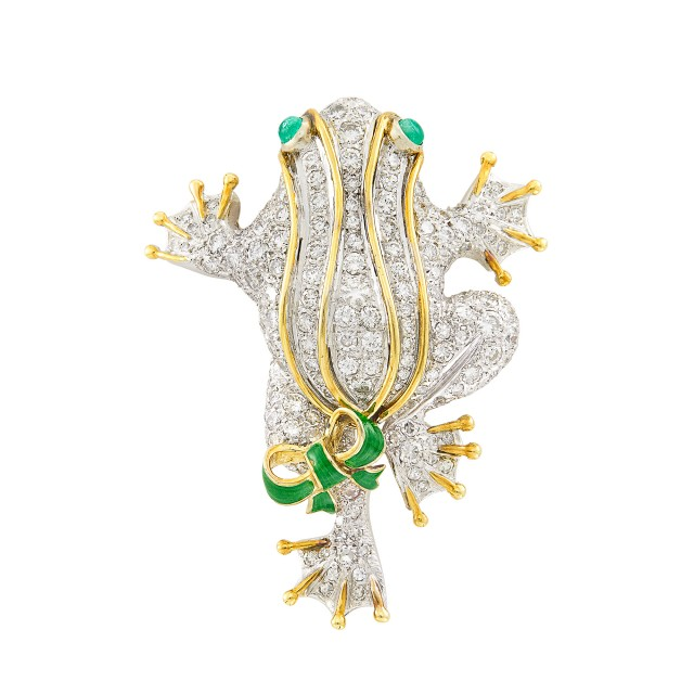 Two-Color Gold, Diamond, Cabochon Emerald and Enamel Frog Brooch