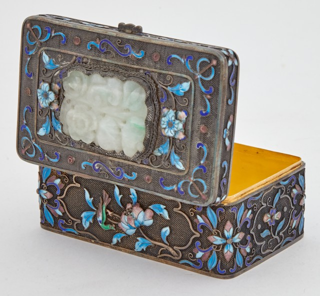 Chinese Jadeite-Inset and Enameled Metal Box