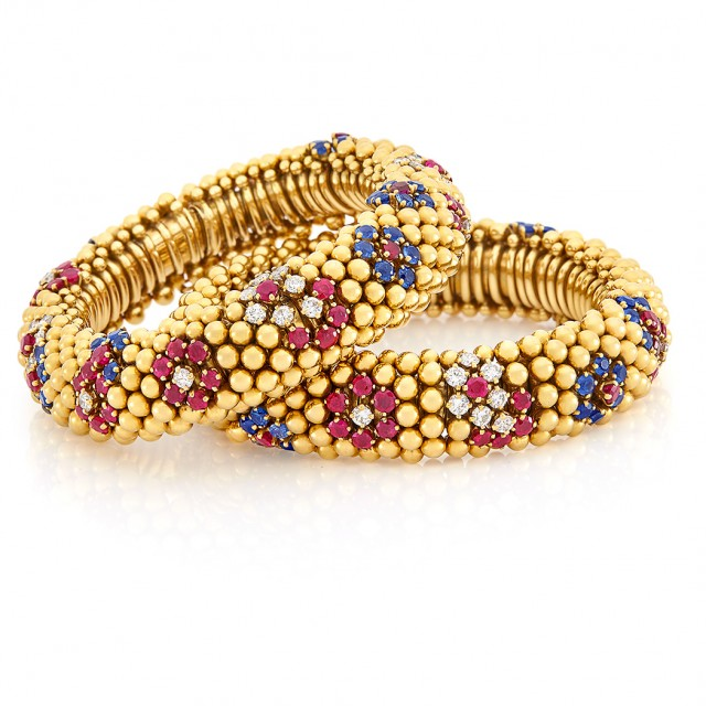 Pair of Gold, Diamond, Ruby and Sapphire \'Lawn\' Bracelets/Necklace Combination, Van Cleef & Arpels, France