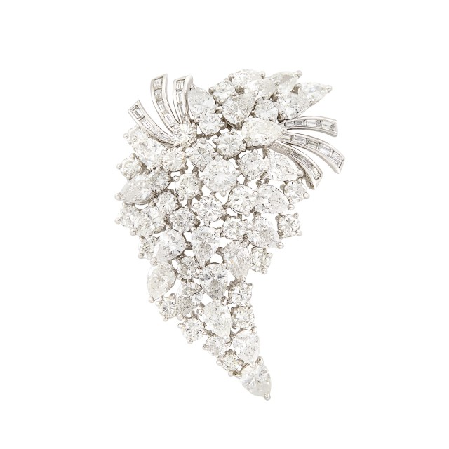 Platinum and Diamond Brooch, Van Clief