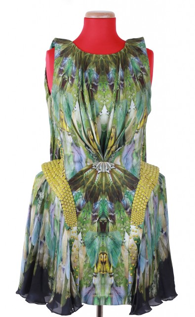Multi-Color Silk Moth Print Kaleidoscope Dress, 'Plato's Atlantis', Spring-Summer, 2010