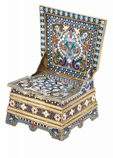 Russian Silver-Gilt and Cloisonné Enamel Salt Throne
