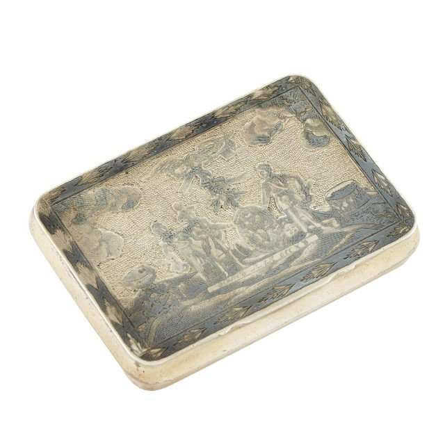 Russian Silver-Gilt and Niello Snuff Box