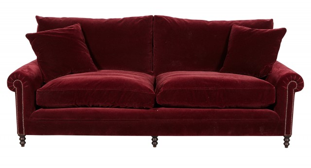 George Smith Mohair-Upholstered Two-Cushion Sofa