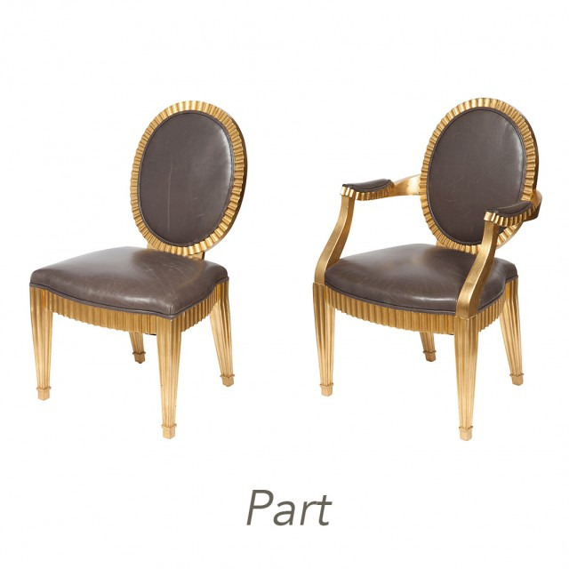 Set Of Ten John Hutton For Donghia Leather Upholstered Giltwood Fluted  Grand Soleil
