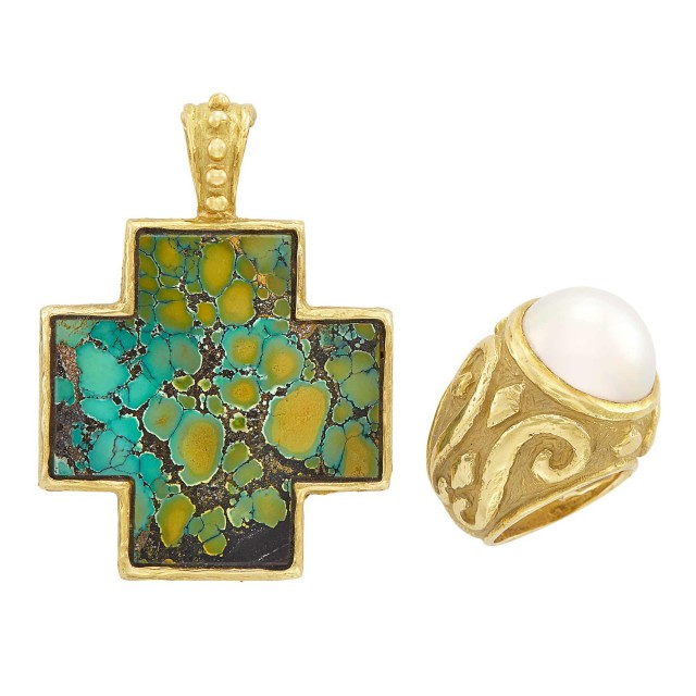 Gold and Turquoise Cross Pendant and Mabé Pearl Ring, Katy Briscoe