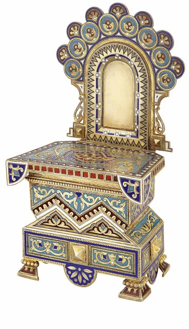 Russian Silver-Gilt Champlevé Enamel Salt Throne