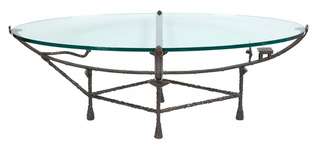 Giacometti Style Bronze and Glass Oval Low Table