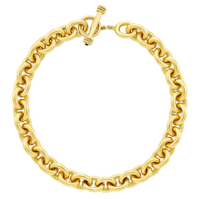 Hammered Gold Link Toggle Necklace, Elizabeth Locke