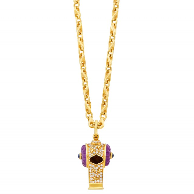 Gold, Diamond, Fluted Amethyst, Cabochon Sapphire and Diamond Whistle Pendant with Long Chain Necklace, Harry Winston