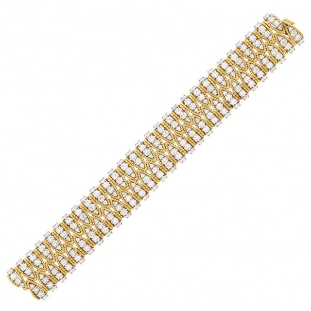 Gold, Platinum and Diamond Bracelet, Cartier
