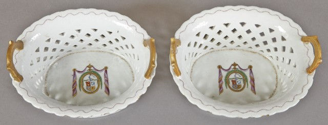 Pair of Chinese Export Armorial Porcelain Baskets