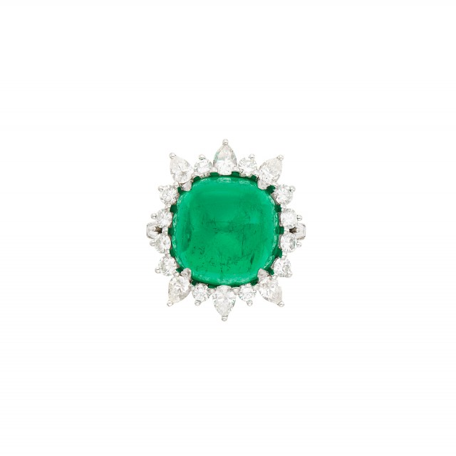 Platinum, Cabochon Emerald and Diamond Ring