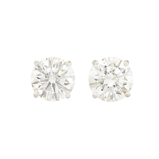 Two Diamond Earrings about 5.50 cts., 14K 1 dwt.