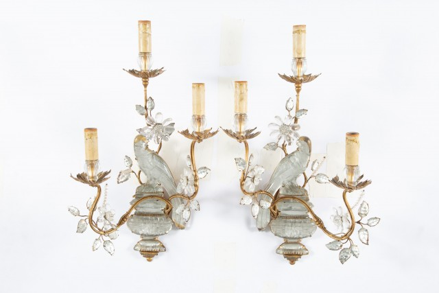Pair of Maison Baguès Style Gilt-Metal and Glass Three-Light Scones